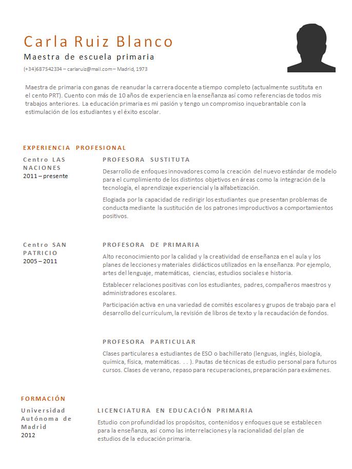 Ejemplos y modelos de curriculum: CV-Resume