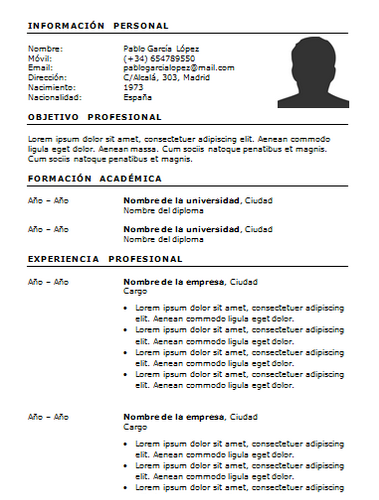 curriculum vitae for thesis