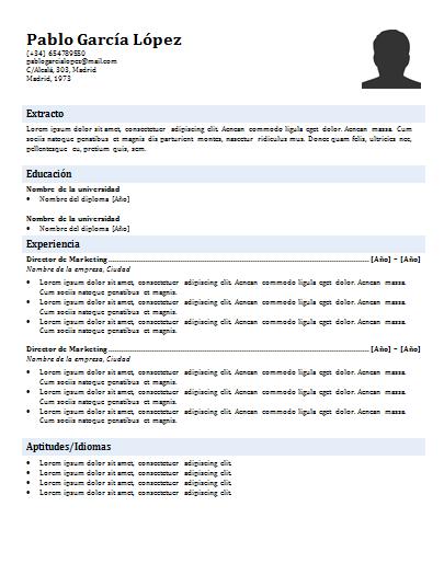Plantilla de curriculum: plantilla cronológica 1
