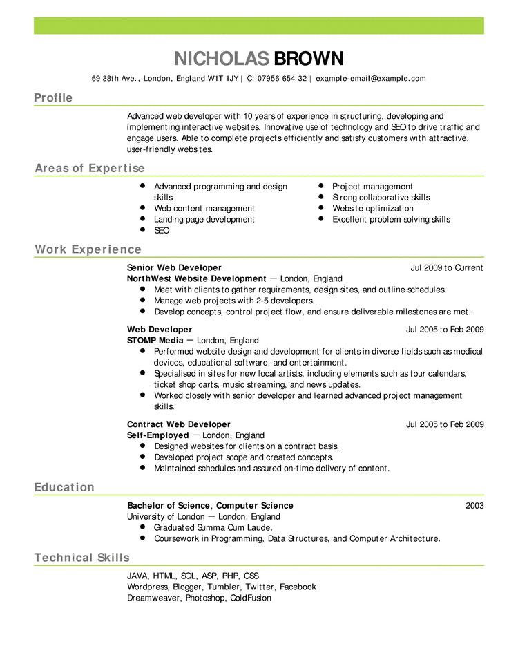 curriculum en ingles ejemplo 3